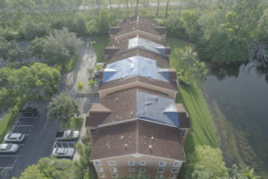 drone image of condo roof inspection naples fl